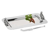 Servierplatte Serviertablett Ente, mit Messer, edel versilbert, 28 x 26 cm