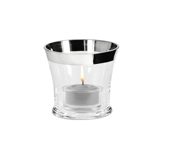 SALE Leuchteraufsatz Teelichtglas, mundgeblasenes Kristallglas mit Platinrand, Höhe 7 cm