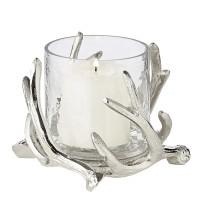 Windlicht Kingston, Geweih-Design, Aluminium, silberfarben, mit Glas, Höhe 10 cm, ø 15 cm