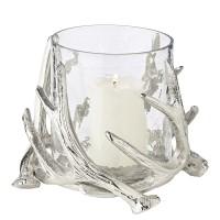 Windlicht Kingston, Geweih-Design, Aluminium, silberfarben, mit Glas, Höhe 15 cm, ø 19 cm