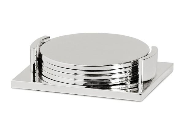 4er Set Untersetzer Lato mit Halter, edel versilbert, anlaufgeschützt, Durchmesser 9 cm