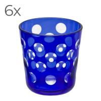 SALE 6er Set Kristallgläser Bob, blau, handgeschliffenes Glas , Höhe 8 cm, Füllmenge 0,14 Liter