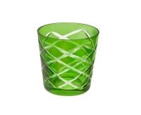 SALE Kristallglas / Teelichthalter Dio, grün, handgeschliffenes Glas , Höhe 8 cm, Füllmenge 0,14 Lit