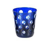 SALE Kristallglas Bob, blau, handgeschliffenes Glas , Höhe 10 cm, Füllmenge 0,23 Liter