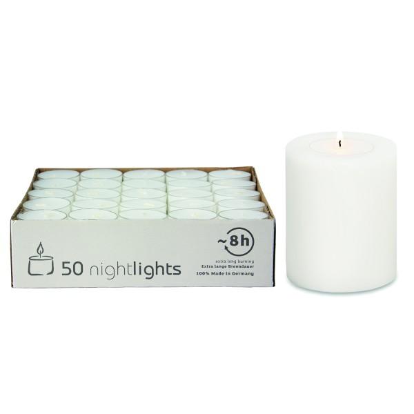 Teelichtkerze Cornelius, H 9 cm, Ø 8 cm, inkl. 48 weiße Teelichter mit durchsichtiger Hülle