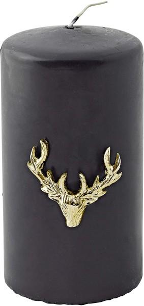3er Set Kerzenpin Kerzenstecker Elch für Stumpenkerzen, Aluminium verrnickelt gold, Höhe 4,5 cm