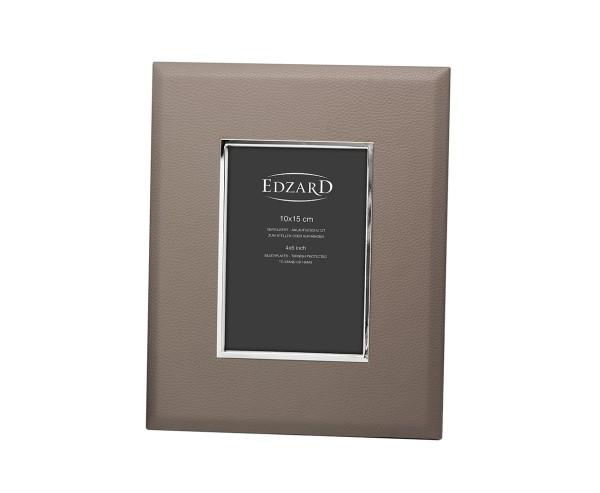 Fotorahmen Finn für Foto 10 x 15 cm, Lederoptik grau, edel versilbert, anlaufgeschützt, 2 Aufhänger