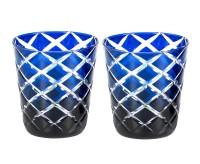 2er Set Kristallgläser Dio, blau, handgeschliffenes Glas , Höhe 10 cm, Füllmenge 0,23 Liter