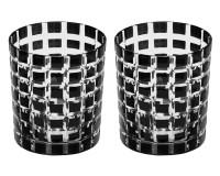 2er Set Kristallgläser Marco, schwarz, handgeschliffenes Glas , Höhe 9 cm, Füllmenge 0,25 Liter