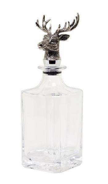 Glas Karaffe Hirsch, quadratisch, Höhe 26 cm, Hirschkopf edel versilbert