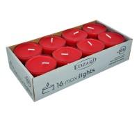 16 Stück WENZEL Maxilights Maxi-Teelichter, rot, transparente Kunststoffhülle, ø 56 mm, ohne Duft