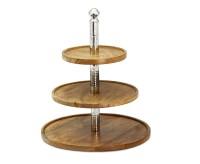 Etagere Granby mit 3 Ebenen, Mangoholz und Edelstahl hochglanzpoliert, Höhe 40 cm, Durchmesser 34 cm