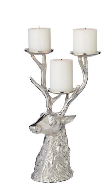 Kerzenleuchter Hirsch, Aluminium vernickelt, Höhe 32 cm, für 3 Stumpenkerzen Durchmesser 6 cm