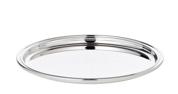 Tablett Serviertablett Pipe, rund, edel versilbert, Durchmesser 22 cm