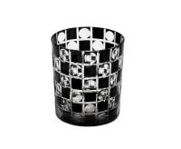 SALE Kristallglas / Teelichthalter Diego, schwarz, handgeschliffenes Glas , H 9 cm, Füllmenge 0,25 L