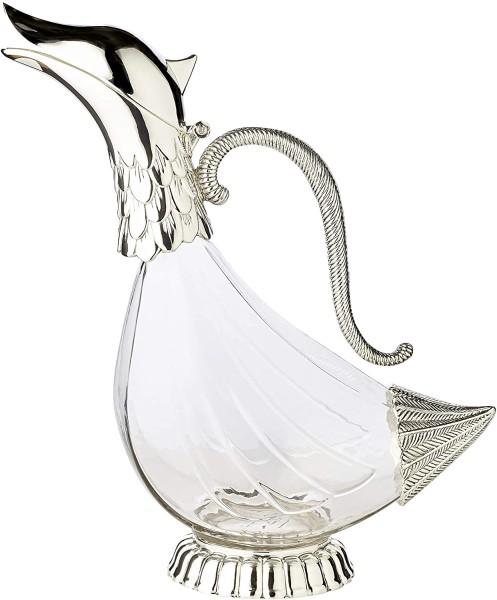 Dekantierente Dekanter Rotwein Karaffe Duck, Höhe 24 cm, Inhalt 0,9 Liter, edel versilberte Elemente