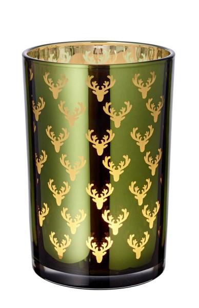 Windlicht Teelichtglas Kerzenglas Dirk, grün, Hirsch, Höhe 18 cm