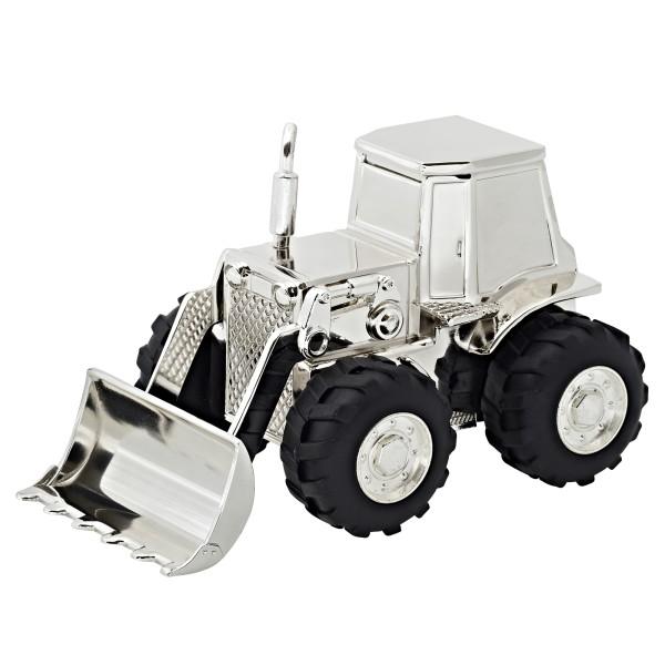 Spardose Sparbüchse Traktor Trecker, edel versilbert, anlaufgeschützt, Höhe 9 cm