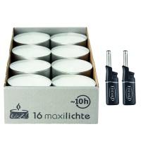 16 Stück Wenzel Maxilights Maxi-Teelichter, weiß, Durchmesser 58 mm, Plus 2 Mini-Stabfeuerzeuge