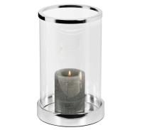 Windlicht Sanremo, edel versilbert, anlaufgeschützt, Höhe 26 cm, Durchmesser 16,5 cm