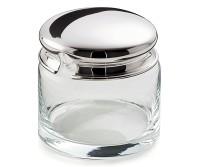 Marmeladenglas / Zuckerdose Jely, Deckel schwerversilbert, Höhe 9 cm