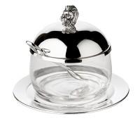 Marmeladenglas Löwe mit Untersetzer und Löffel, edel versilbert, Höhe 12 cm, ø 14 cm, ø Glas 10 cm