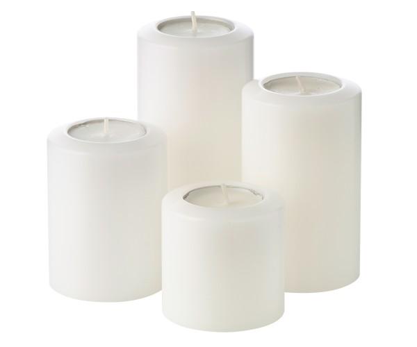 4er Set Teelichthalter Dauerkerze Cornelius Pine ø 6 cm Höhe 6, 8, 10, 12 cm, hitzebeständig bis 90°