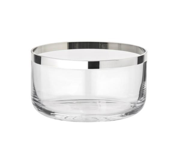 Schale Dekoschale Sepp, mundgeblasenes Kristallglas mit Platinrand, Durchmesser 24 cm