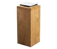 Sockel für Laterne Dubai, Teakholz und Edelstahl glänzend vernickelt, Höhe 51 cm, Gewicht 6,1 kg