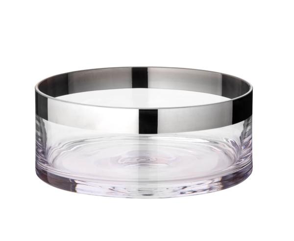 Schale Dekoschale Grit, mundgeblasenes Kristallglas mit Platinrand, Durchmesser 20 cm