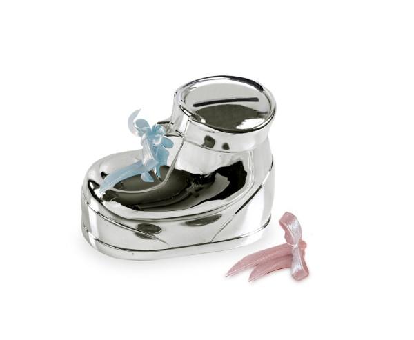 Spardose Sparbüchse Babyschuhe, edel versilbert, anlaufgeschützt, 10 x 7 x 6 cm
