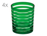 SALE 4er Set Kristallgläser Nelson, grün, handgeschliffenes Glas , Höhe 9 cm, Füllmenge 0,25 Liter
