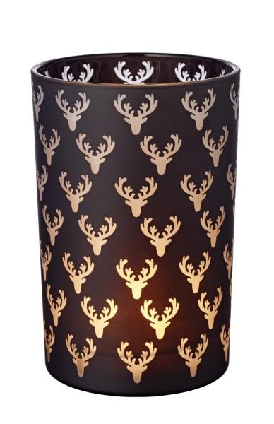 Windlicht Teelichtglas Kerzenglas Dirk, schwarz, Hirsch, Höhe 18 cm
