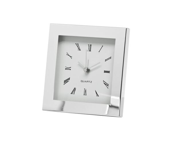 Uhr Tischuhr Wecker Motel, edel versilbert, anlaufgeschützt, 12,5 x 12,5 cm