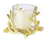 Windlicht Kingston, Geweih-Design, Aluminium, goldfarben, mit Glas, Höhe 10 cm, ø 15 cm