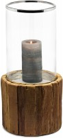 SALE Windlicht Greyburn, Teakholz, Glas, Edelstahl glänzend vernickelt, Höhe 53 cm, D 24 cm