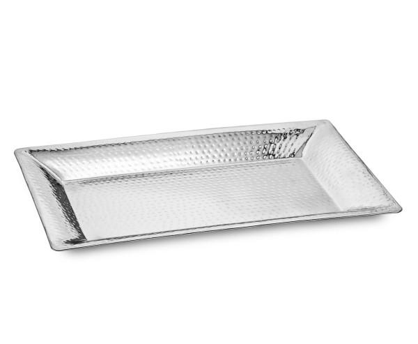 SALE Tablett Serviertablett Detroit, rechteckig, Edelstahl gehämmert hochglanzpoliert, 56 x 33 cm
