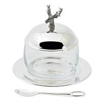 Marmeladenglas / Zuckerdose Hirsch, edel versilbert, Höhe 11 cm