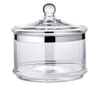 Glasschale Servierbox Vigo mit Deckel, mundgeblasenes Kristallglas mit Platinrand, ø 19 cm, H 19 cm