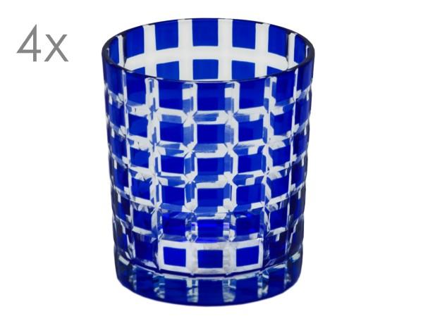 SALE 4er Set Kristallgläser Marco, blau, handgeschliffenes Glas , Höhe 9 cm, Füllmenge 0,25 Liter