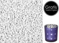 Dekogranulat 2-3 mm, 1 kg, weiß, staubfrei, verschließbarer Beutel + gratis Teelichtglas Domo H 8 cm