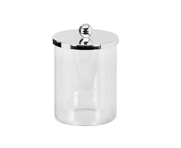 Dose Glasdose Corby, Deckel edel versilbert, anlaufgeschützt, Höhe 16 cm, Durchmesser 10 cm