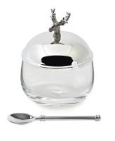 Dose Vorratsglas Hirsch, Deckel edel versilbert, anlaufgeschützt, Höhe 12 cm, Durchmesser 9 cm