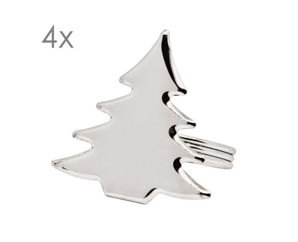 4er Set Serviettenringe Tannenbaum, zB für Weihnachten, edel versilbert, anlaufgeschützt