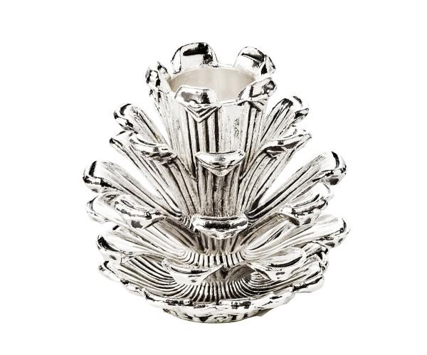 Kerzenleuchter Zapfen für Stabkerze, Aluminium vernickelt, Höhe 6 cm