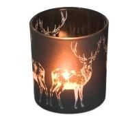 Teelichthalter Windlicht Hirsch, schwarzes Glas, Höhe 8 cm