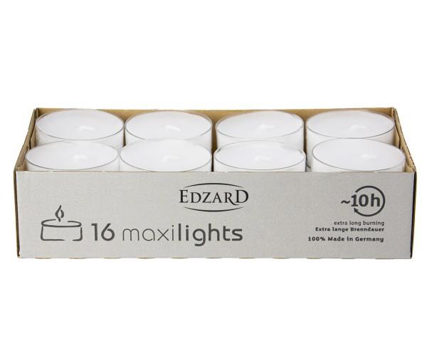 16 Stück WENZEL Maxilights Maxi-Teelichter, weiß, transparente Kunststoffhülle, ø 56 mm, ohne Duft