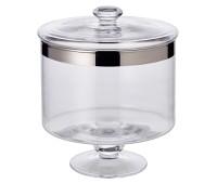 Bonboniere auf Fuß Erik, mundgeblasenes Kristallglas mit Platinrand, Höhe 19 cm, Durchmesser 15 cm