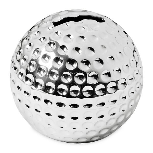Spardose Sparbüchse Golfball, edel versilbert, anlaufgeschützt, Höhe 8 cm