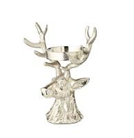 Kerzenleuchter Hirsch, Aluminium vernickelt, Höhe 20 cm, für Stumpenkerze ø 6 cm